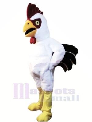 Puissance Musclé blanc Coq Mascotte Les costumes Dessin animé