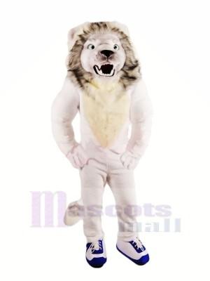 Féroce blanc Lion Mascotte Les costumes Adulte