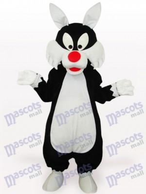 Costume de mascotte adulte de loup blanc de bouche d'animal