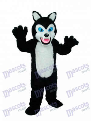 Cheveux longs Noir Loup Mascotte Costume Animal
