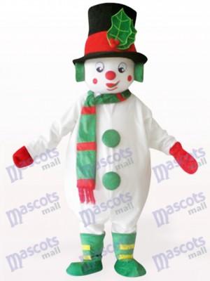 Costume blanc de mascotte de Noël de bonhomme de neige blanc