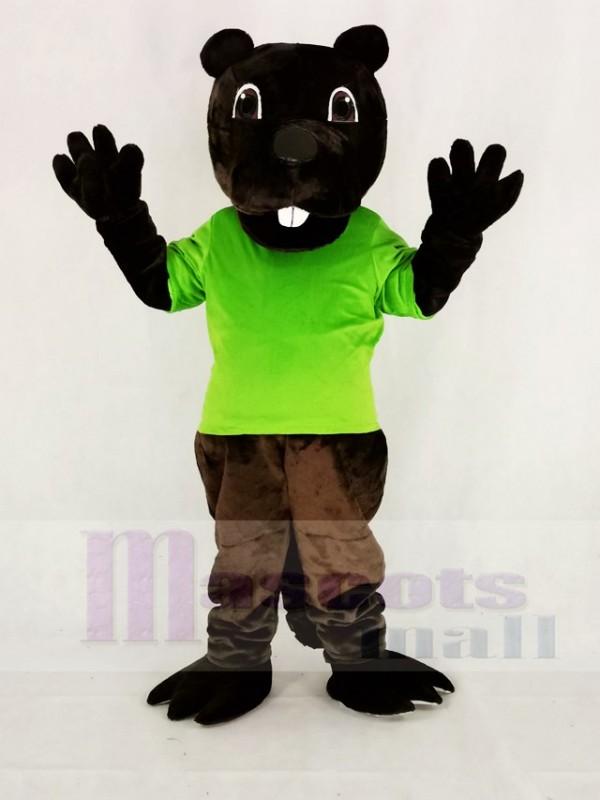 Marrant marron Barney Castor dans vert Mascotte Costume Dessin animé