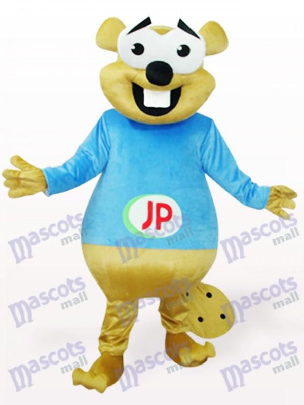 Ours bleu avec le costume de mascotte d'animaux de grandes dents