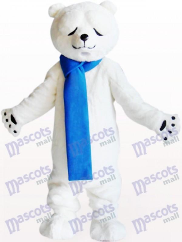 Costume de mascotte d'ours polaire avec yeux rétrécis