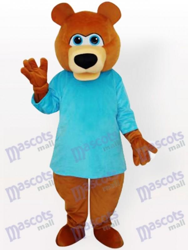 Ours en T-shirt bleu Costume drôle de mascotte de dessin animé