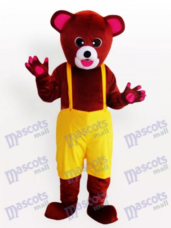 Costume de mascotte drôle ours brun en salopette