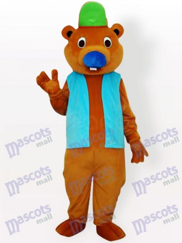 Ours avec chapeau vert et costume de mascotte adulte veste bleue