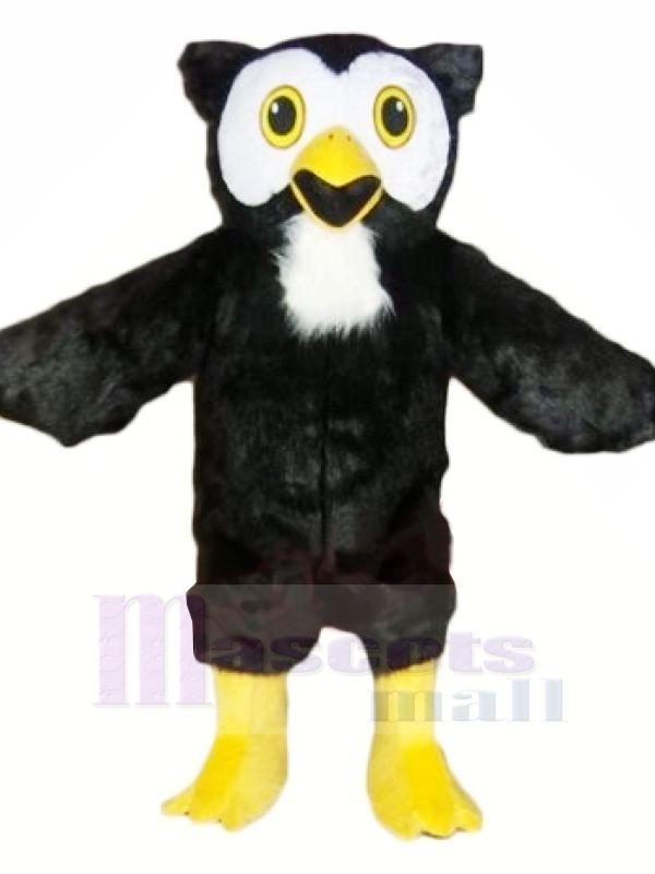 Noir Hibou avec Jaune Pieds Mascotte Les costumes Animal