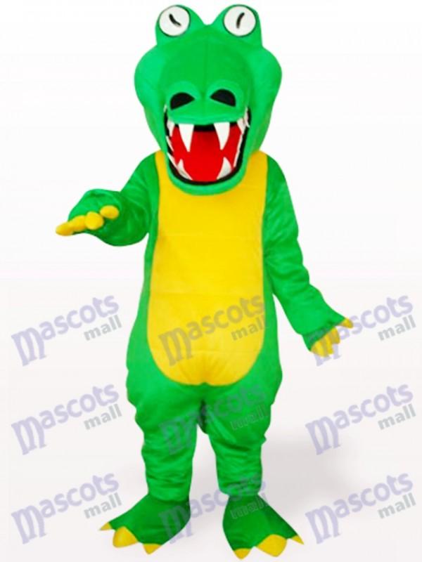 Crocodile vert avec costume de mascotte adulte animal de grande bouche