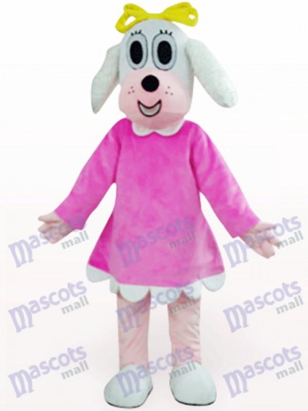 Femme chien en costume fuchsia Costume de mascotte