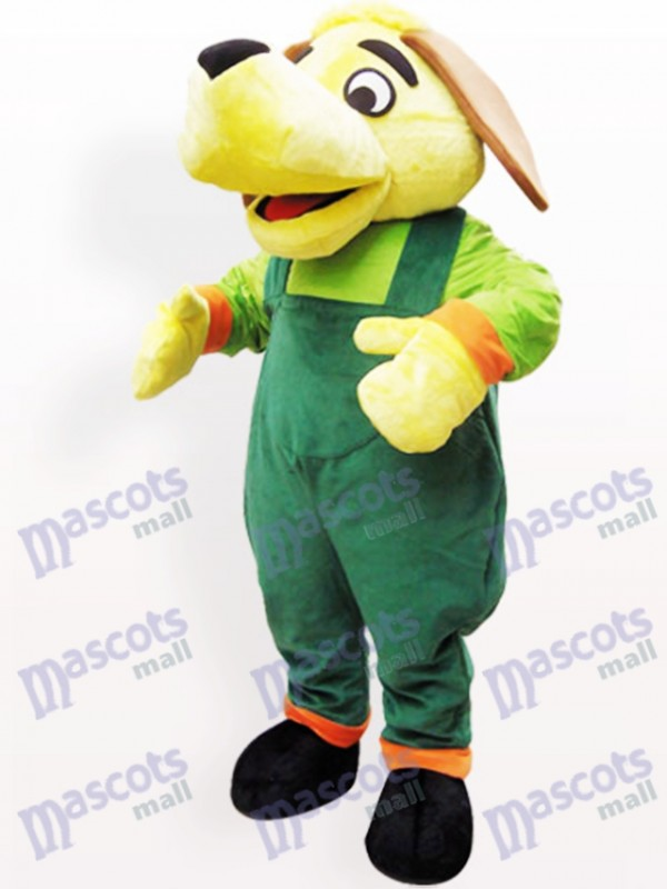 Costume de mascotte adulte en peluche chien vert et jaune