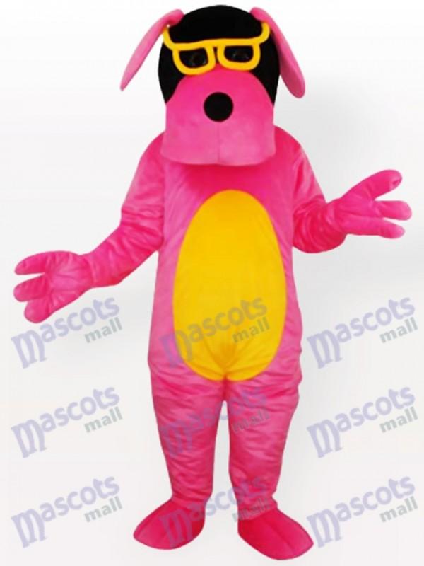 Costume de mascotte pour chien rose avec un ventre jaune et des lunettes