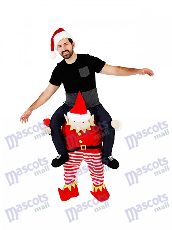 Piggyback Elf Carry Me Ride on Red Elf Mascot Costume