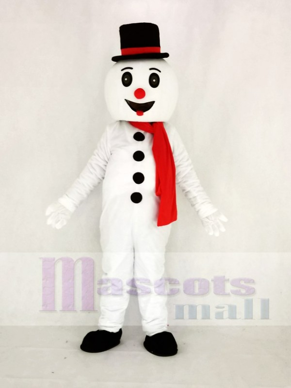 Mignonne Neige Homme avec Chapeau Mascotte Costume Dessin animé