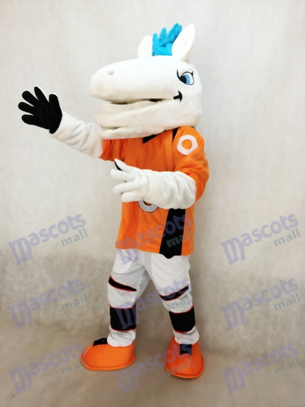 Broncos de cheval de Mustang avec le costume de mascotte de crinière bleue