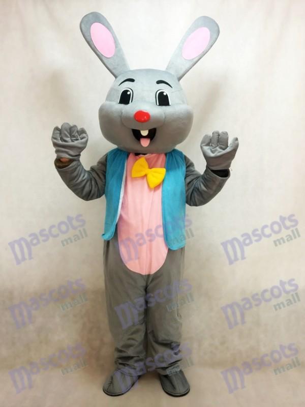 Pâques Grise Lapin lièvre Mascotte Costume dans Bleu Gilet