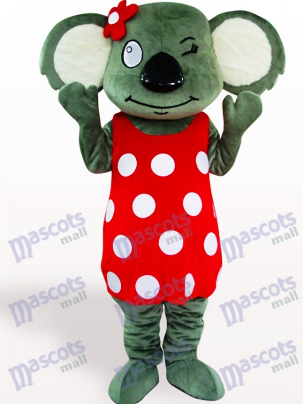 Costume de mascotte adulte Koala jupe rouge