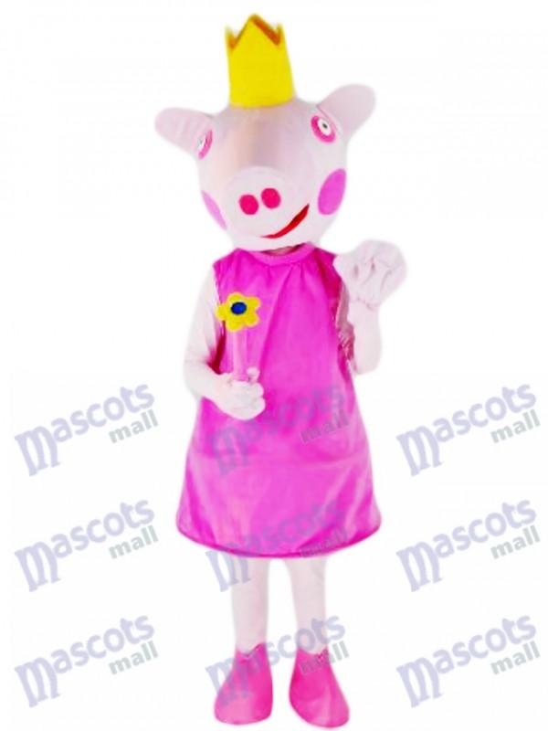 Ferme de costume de mascotte princesse rose cochon