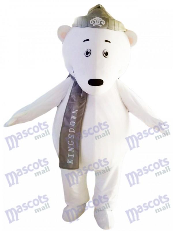 Ours polaires avec chapeau gris et foulard mascotte Costume Animal