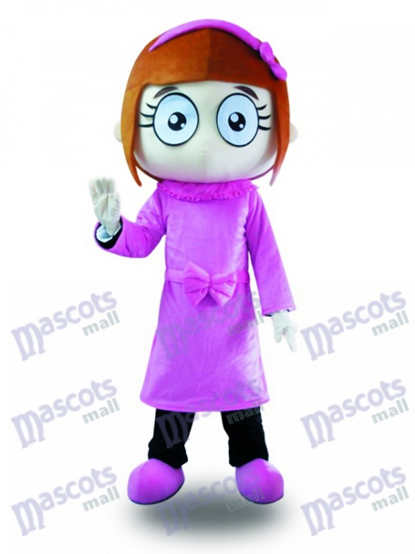 Robe pourpre Big Eyes Girl Mascotte Costume Cartoon