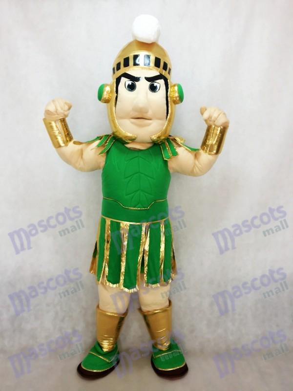 Costume de mascotte Sparty vert et or Spartan Trojan Knight Costume de fantaisie Carnaval