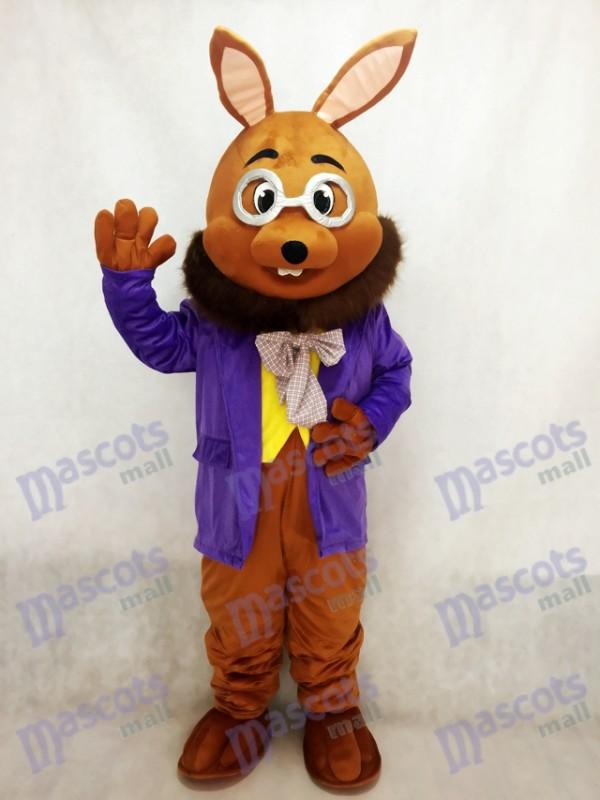 Monsieur Bunny de Pâques avec un costume de mascotte de smoking violet