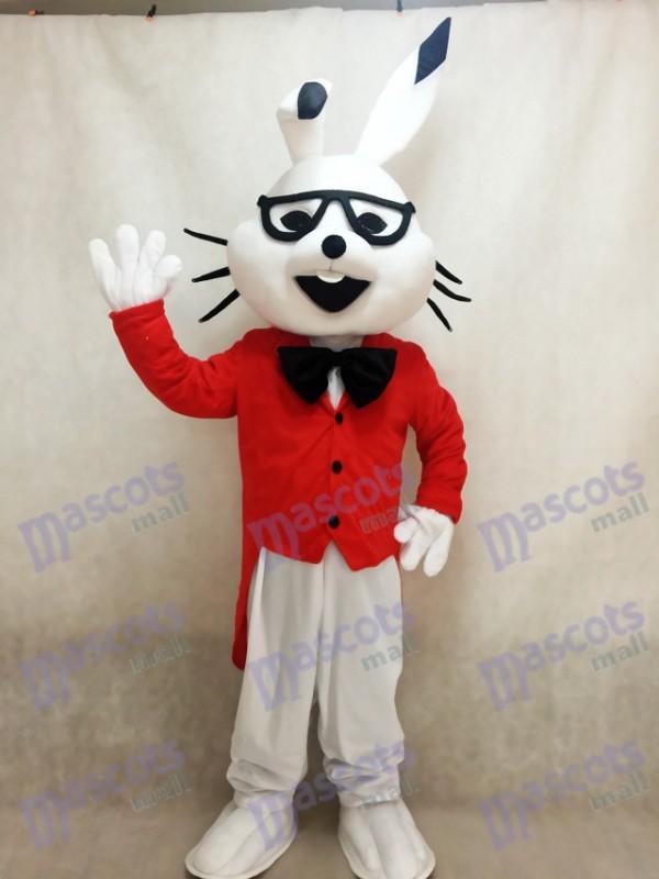 Costumes de mascotte de lapin de bogues de lapin blanc de Pâques avec le manteau rouge