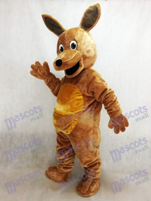 Costume mascotte kangourou marron cheveux longs Animal