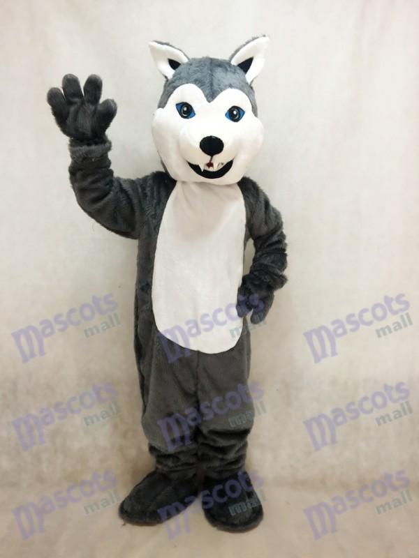 Costume de mascotte chien Husky blanc et gris Animal