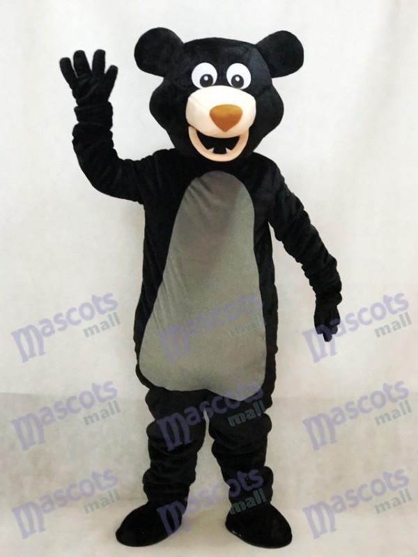 Costume adulte mascotte de l'ours noir aux cheveux longs Animal