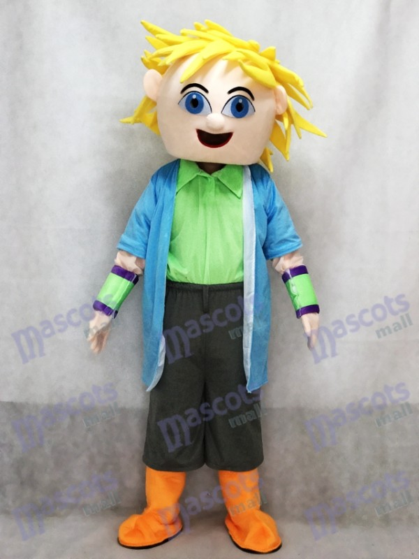 Costume de mascotte de cheveux blonds de grand garçon de Dj