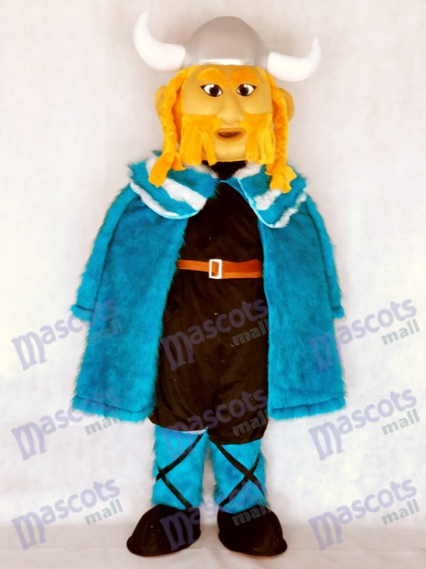 New Thor le costume de mascotte viking géant avec cape bleue