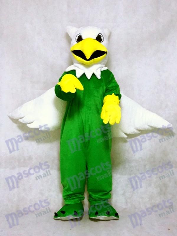 Costume de mascotte Griffin vert avec ailes blanches