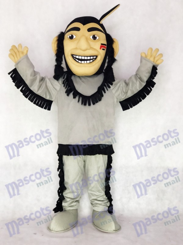 Costume heureux de mascotte indienne courageux