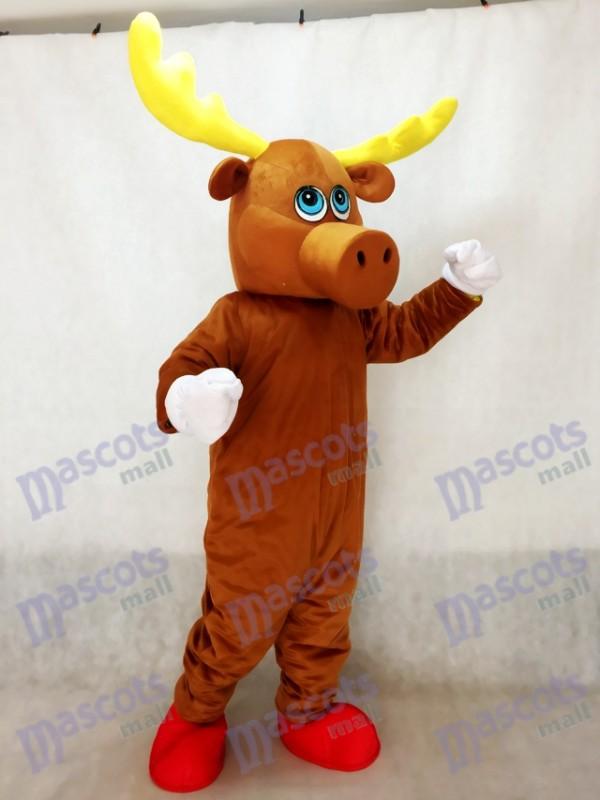 Costume de mascotte d'orignal mâle mignon brun