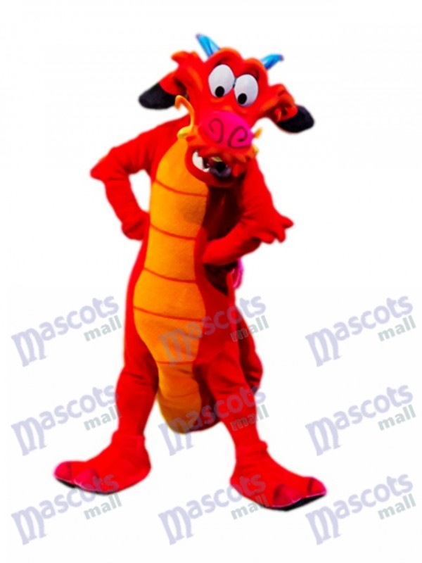Costume de mascotte dragon rouge légendaire