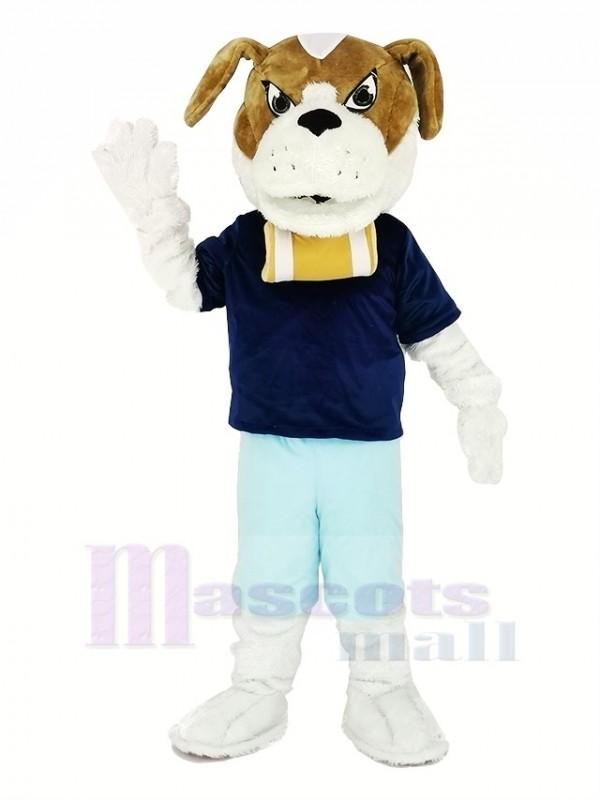 Saint Bernard Chien avec Bleu T-shirt Mascotte Costume Dessin animé