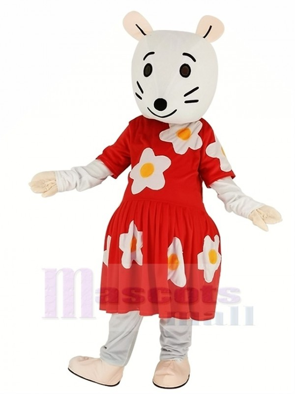 gris Souris avec rouge Robe Mascotte Costume Dessin animé