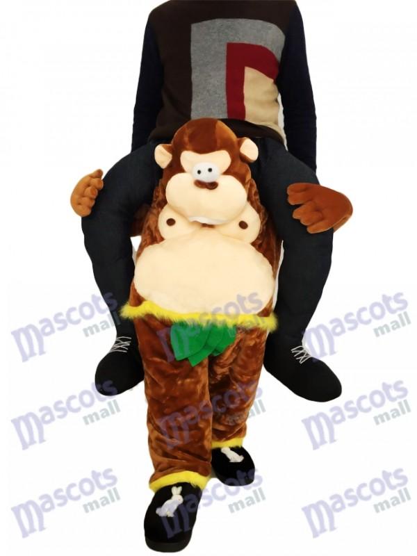 Singe Piggyback Carry Me Ride Singe brun avec costume de mascotte feuilles vertes