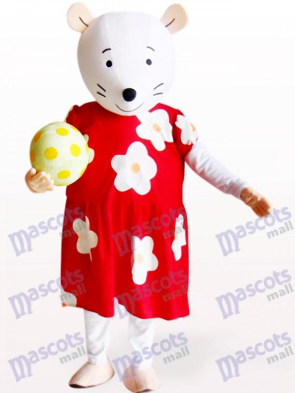 Souris mignonne en costume fleuri rouge et blanc Costume de mascotte animaux