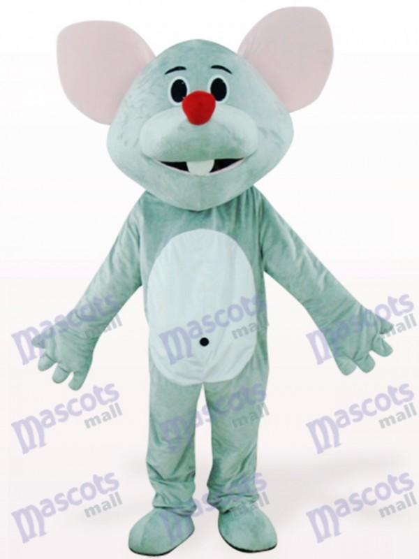 Costume de souris grise avec le nez rouge animal mascotte