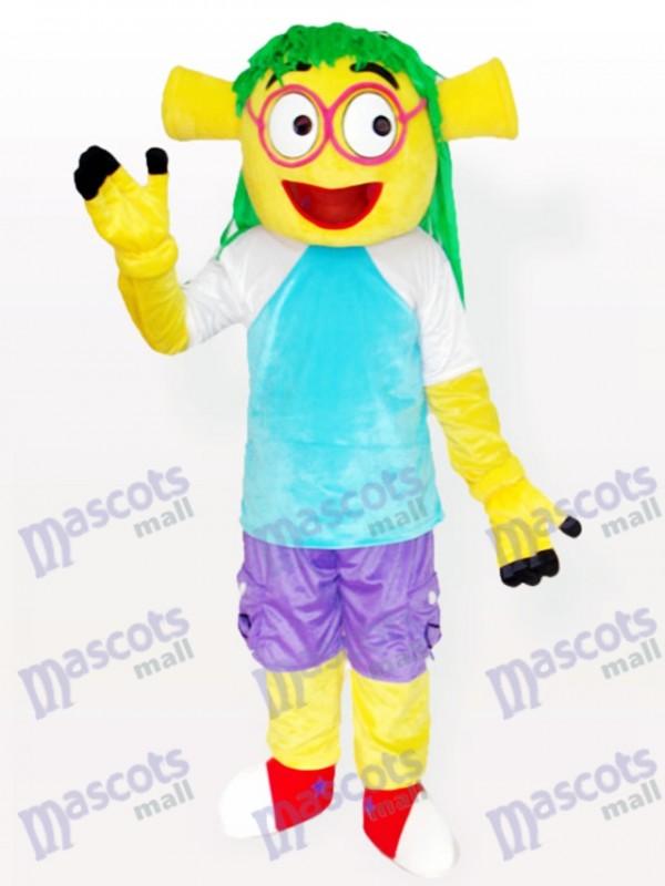 Sourire Wen Dudu robe bleue Costume de mascotte adulte