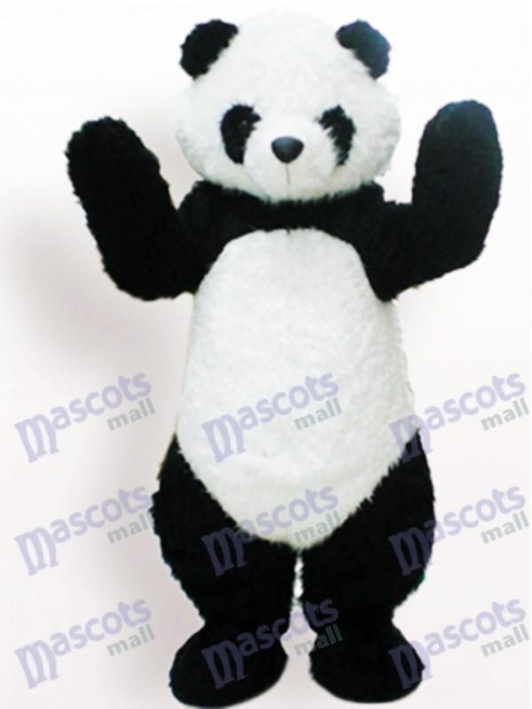 Costume drôle de mascotte adulte noir et blanc d'animal de panda