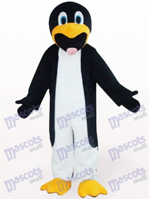 Costume de mascotte animal noir et blanc mince de pingouin