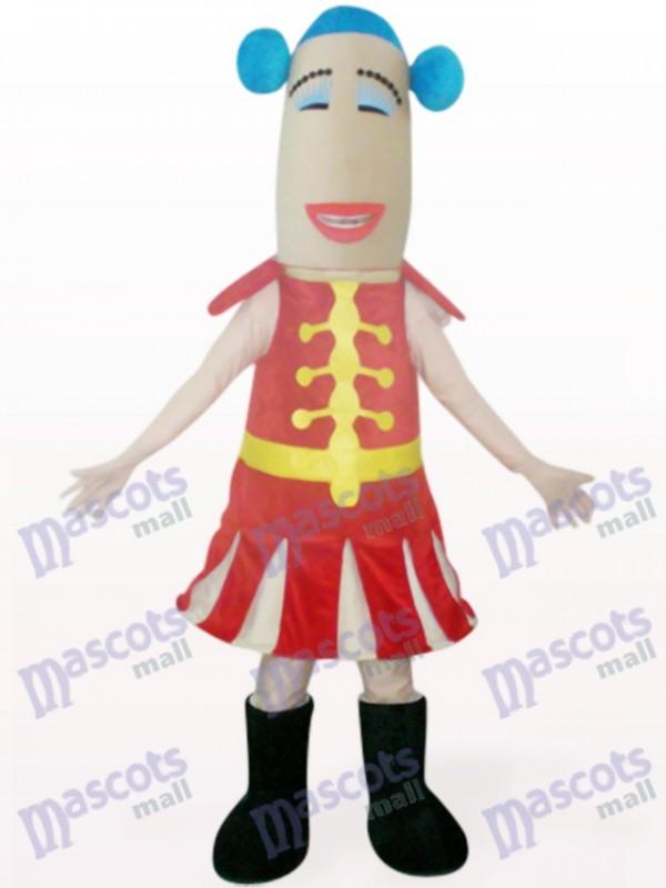 Costume de mascotte de dessin animé femme rouge