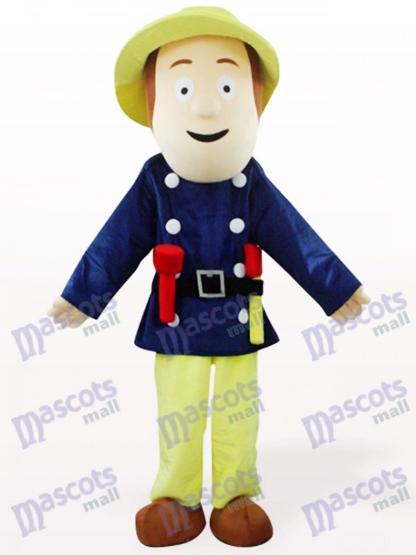 Costume de pompier en costume bleu mascotte de pompier
