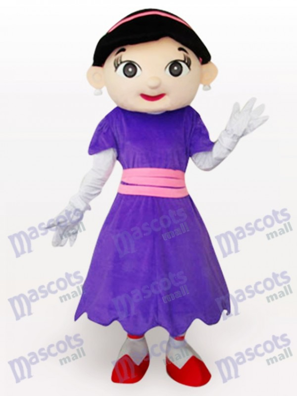 Costume de mascotte pourpre de dessin animé de fille de vache pourpre