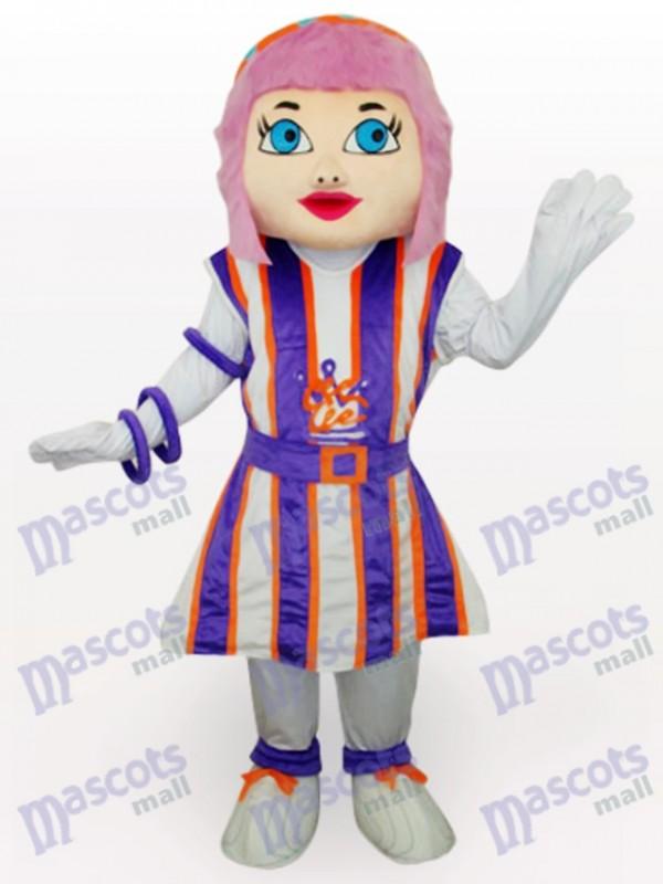 Costume de mascotte adulte pourpre fille cheveux Cartoon