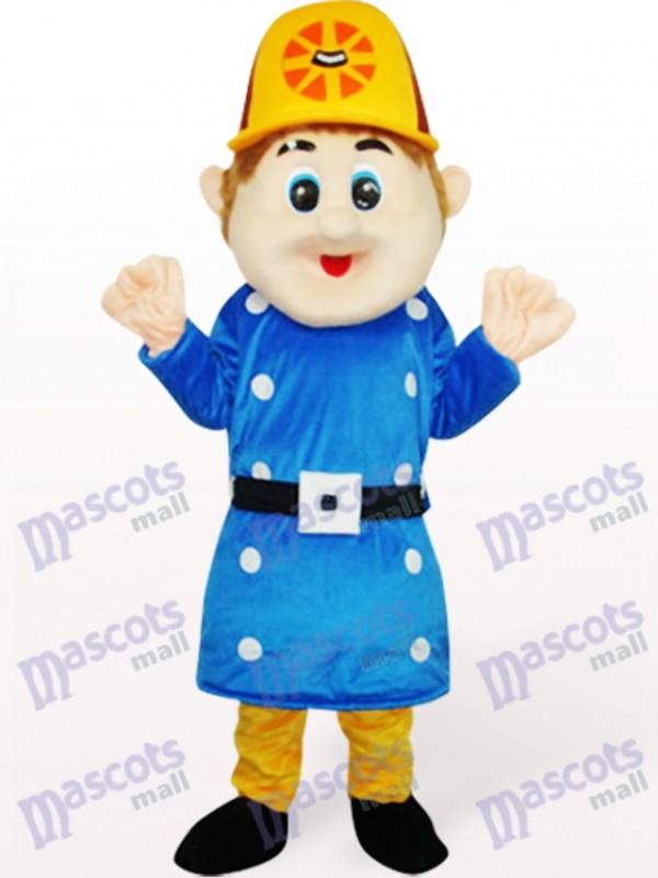 Déguisement de mascotte adulte Sam travailleur bleu
