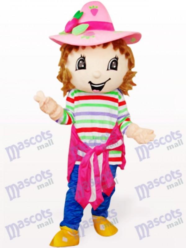 Costume de mascotte de belle fille colorée de fraise de shortcake